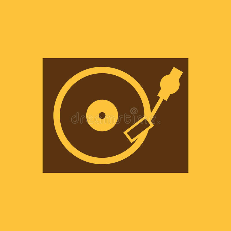 O ícone da plataforma giratória DJ e gramofone, jogador, símbolo de música liso ilustração stock