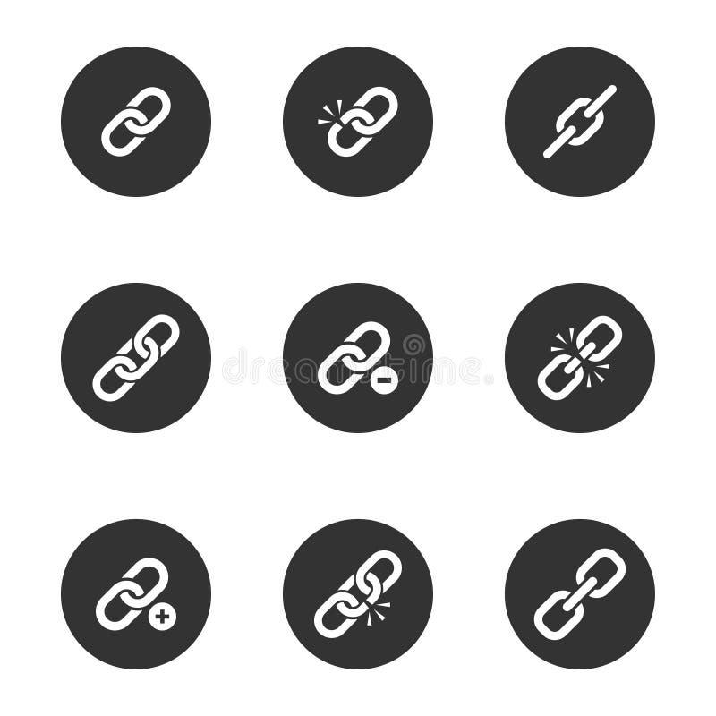 O ícone da relação da Web ajustou-se no quadro redondo preto ilustração do vetor