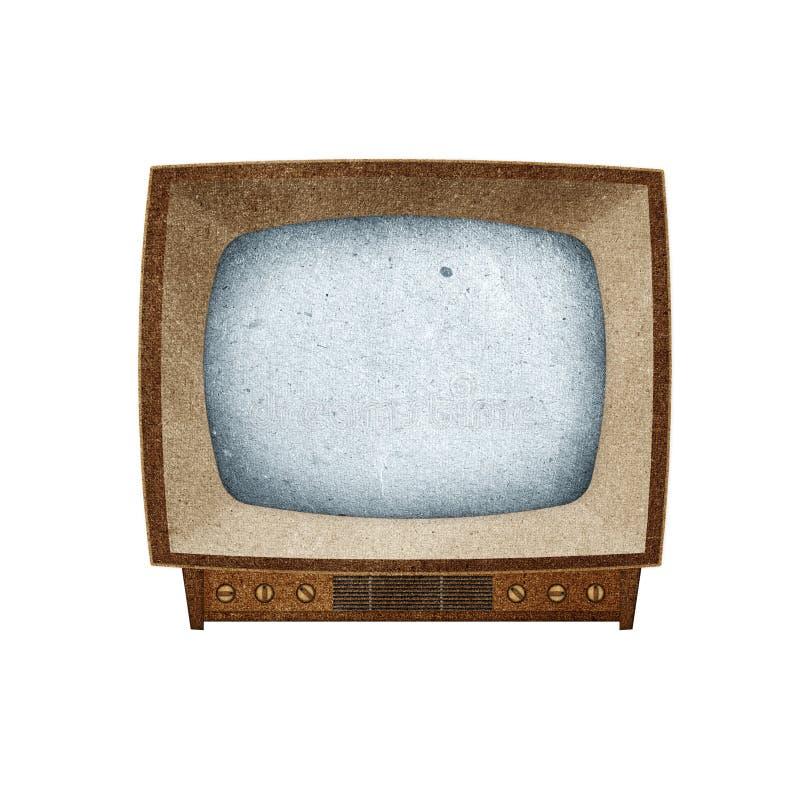 O ícone da televisão (tevê) recicl o ofício de papel. imagem de stock royalty free