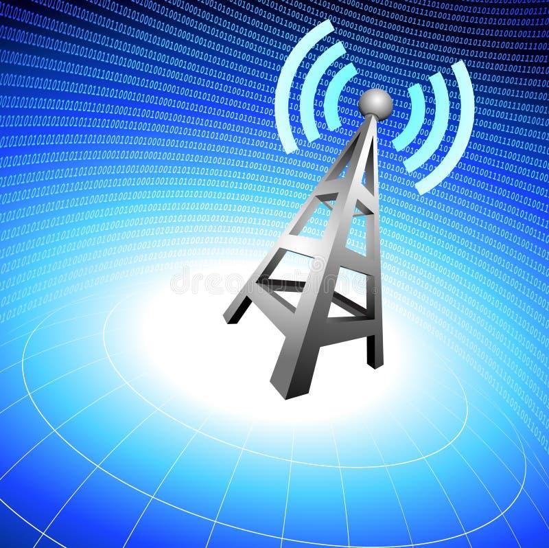O ícone da torre de rádio acena no fundo azul ilustração do vetor