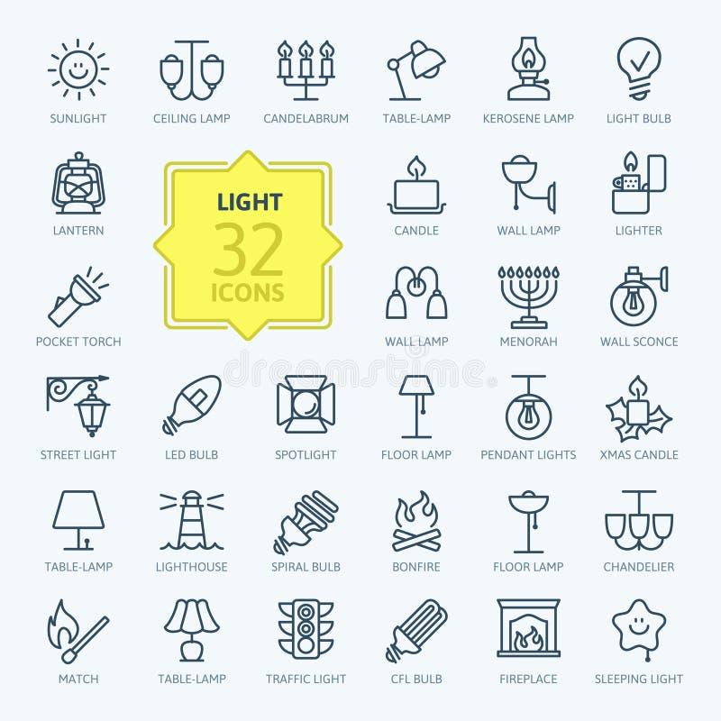 O ícone da Web das luzes ajustou - o grupo do ícone do esboço ilustração stock