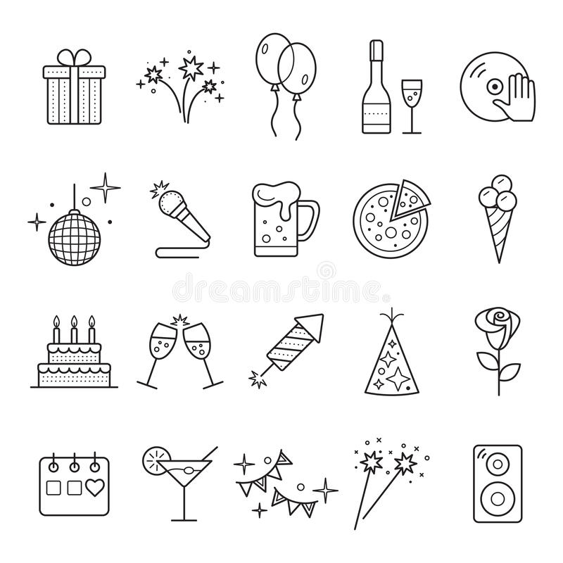 O ícone da Web do esboço ajustou - o partido, aniversário, feriados ilustração stock