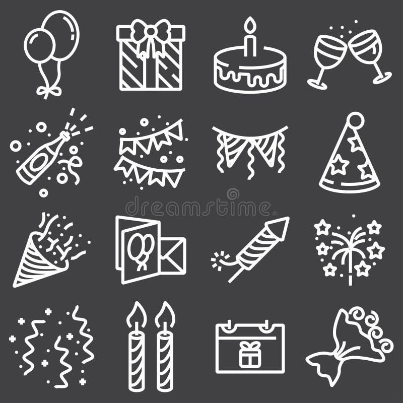 O ícone da Web do esboço ajustou - o partido, aniversário, feriados ilustração royalty free