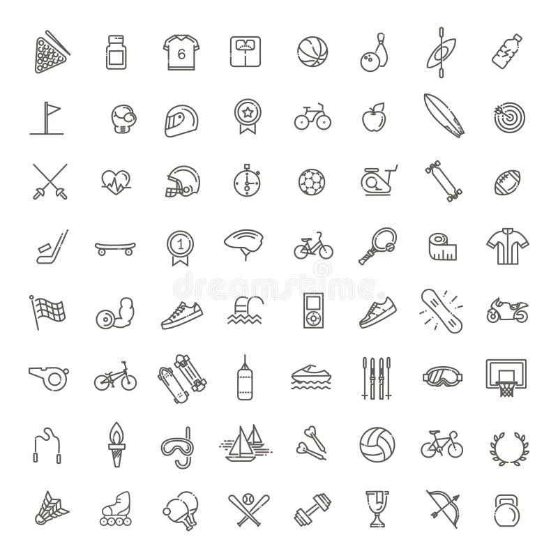 O ícone da Web do esboço ajustou-se - esporte e aptidão ilustração royalty free