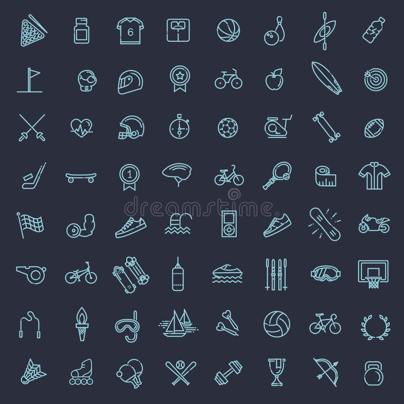 O ícone da Web do esboço ajustou-se - esporte e aptidão ilustração stock
