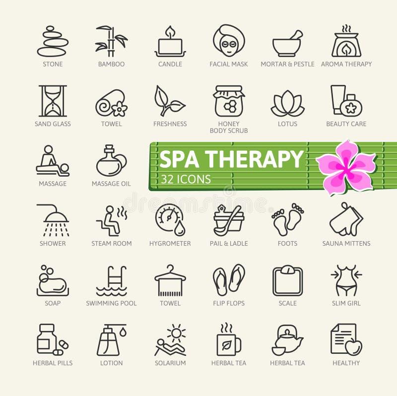 O ícone da Web dos elementos dos cosméticos da massagem da terapia dos TERMAS ajustou - o grupo do ícone do esboço ilustração royalty free