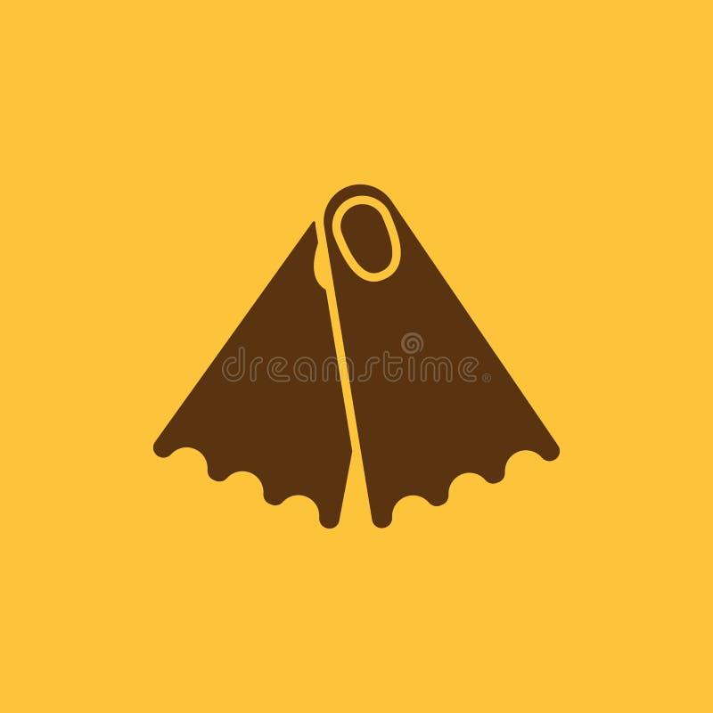 O ícone das aletas Símbolo do mergulho liso ilustração royalty free