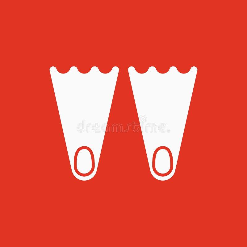 O ícone das aletas Símbolo do mergulho liso ilustração stock
