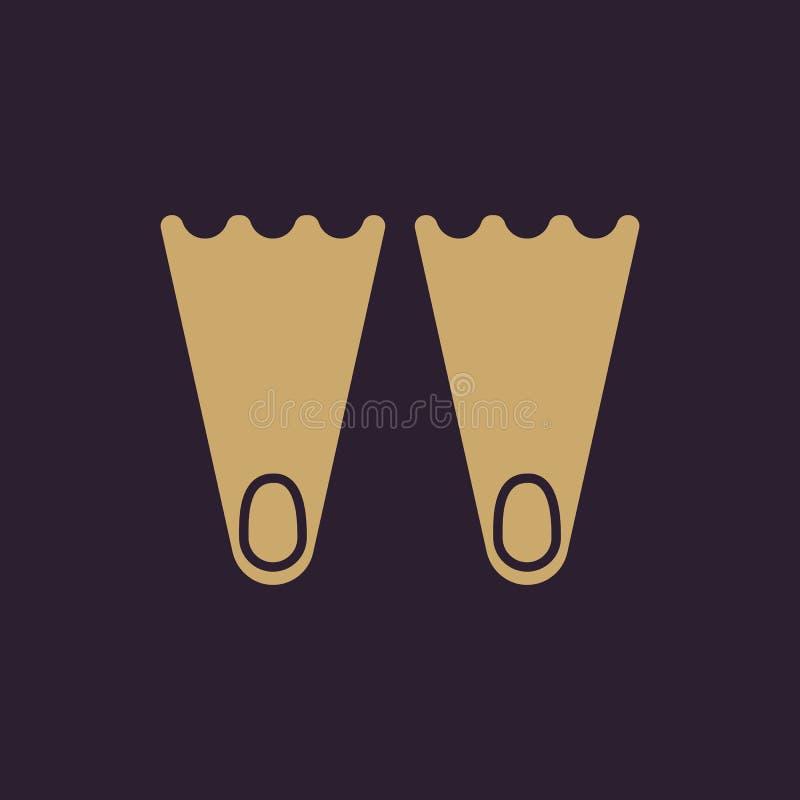 O ícone das aletas Símbolo do mergulho liso ilustração do vetor