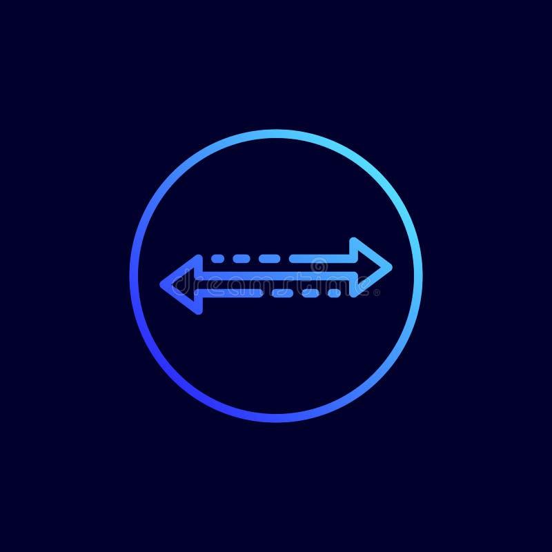 O ícone das setas esquerdas e direitas Ilustração do vetor na linha estilo lisa ilustração stock