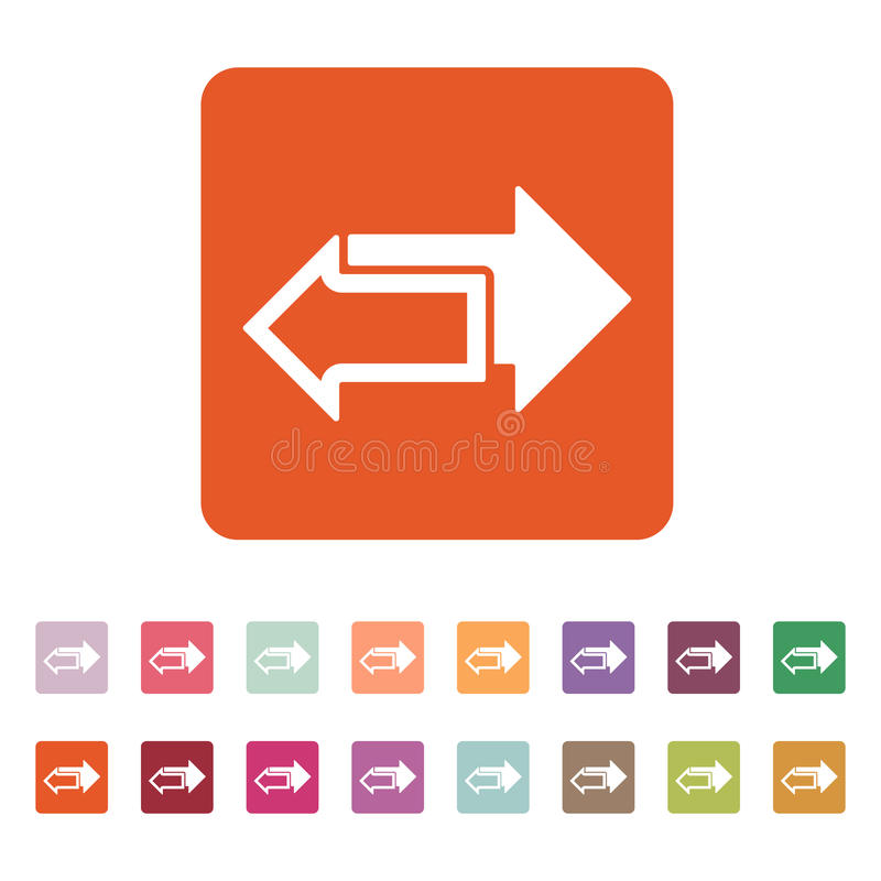 O ícone das setas esquerdas e direitas Símbolo das setas ilustração stock