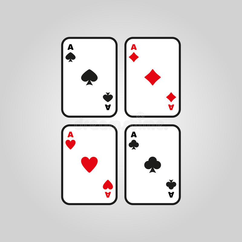 O ícone de Ace Símbolo do terno do cartão de jogo ilustração do vetor
