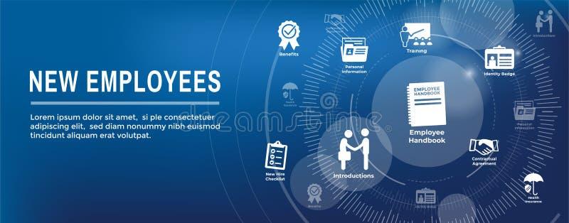 O ícone de aluguer do processo do empregado novo ajustou-se com manual, lista de verificação, ilustração do vetor