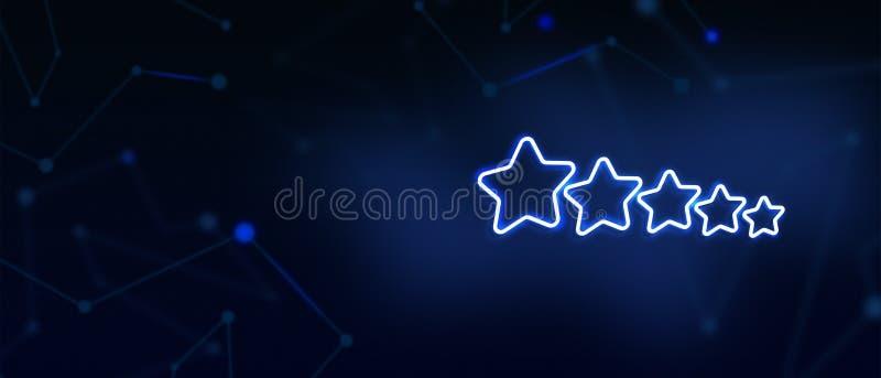 o ícone de avaliação de 5 estrelas, desempenho empresarial excelente, serviço de qualidade, aspiração, avaliação de desempenho, c ilustração do vetor