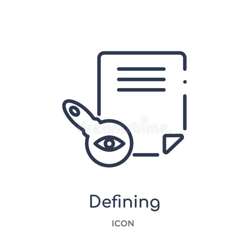O ícone de definição linear de edita a coleção do esboço das ferramentas Linha fina que define o ícone isolado no fundo branco de ilustração do vetor