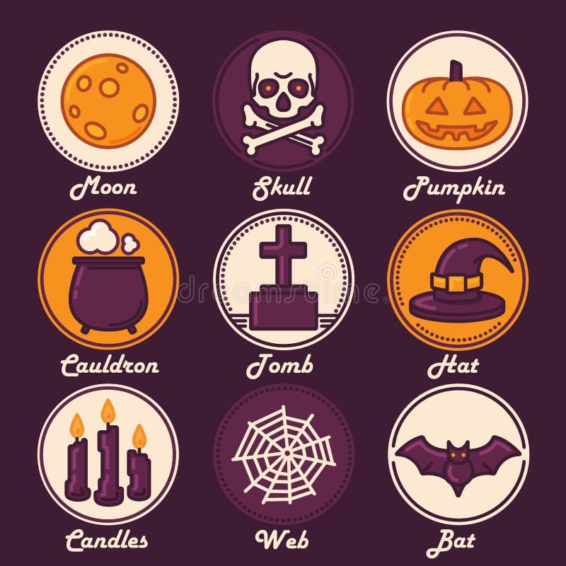 O ícone de Dia das Bruxas ajustou-se (lua, crânio, abóbora, caldeirão, túmulo, chapéu, velas, Web, bastão ilustração royalty free