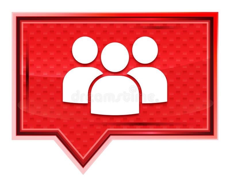 O ícone de grupo de utilizadores enevoado aumentou botão cor-de-rosa da bandeira ilustração do vetor