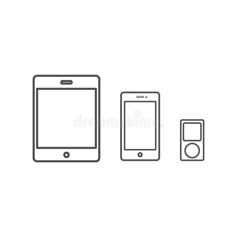 O ícone de IPad, de iPod e de iPhone vector a ilustração ilustração stock