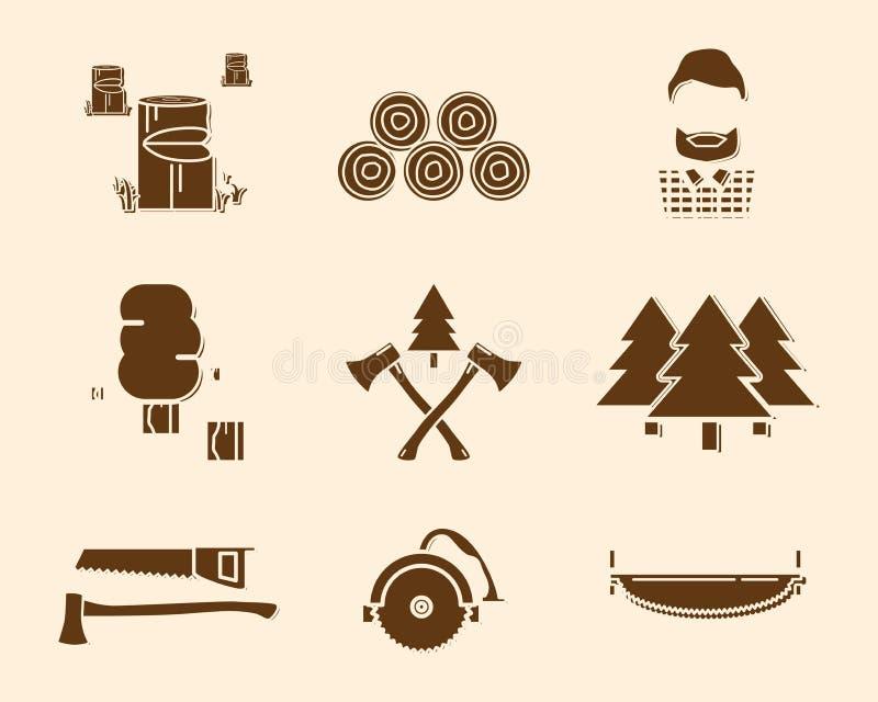 O ícone de madeira do cortador ajustou 2 ilustração royalty free
