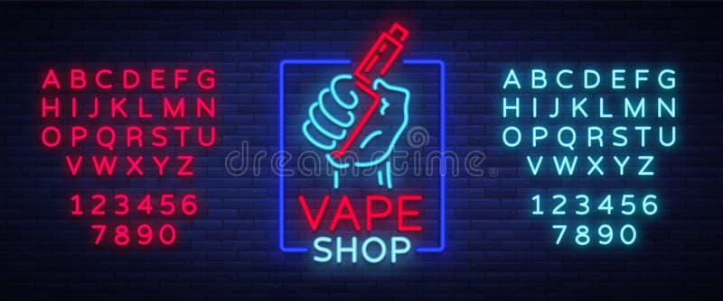 O ícone de néon da loja de Vape, logotipo isolou a ilustração do vetor Sinal de néon, uma bandeira de incandescência da noite que ilustração stock