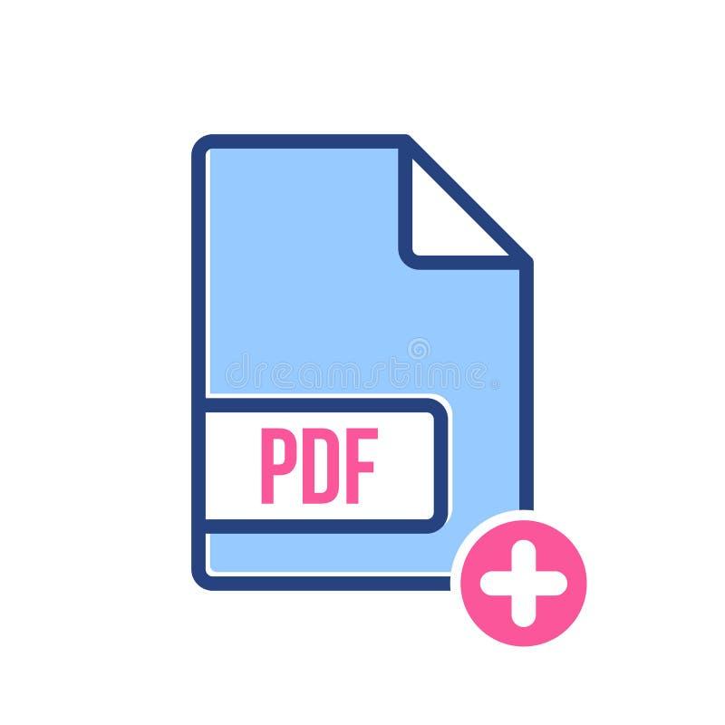 O ícone de original do pdf, extensão do pdf, ícone do formato de arquivo com adiciona o sinal Ícone de original do pdf e símbolo  ilustração do vetor