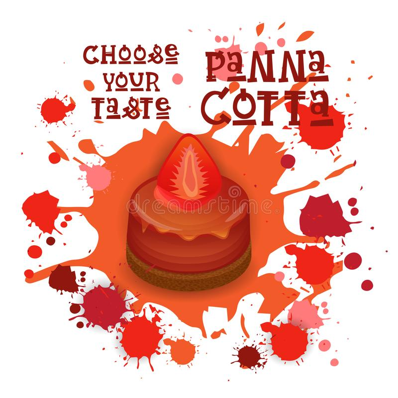 O ícone de Panna Cotta Strawberry Dessert Colorful escolhe seu cartaz do café do gosto ilustração royalty free