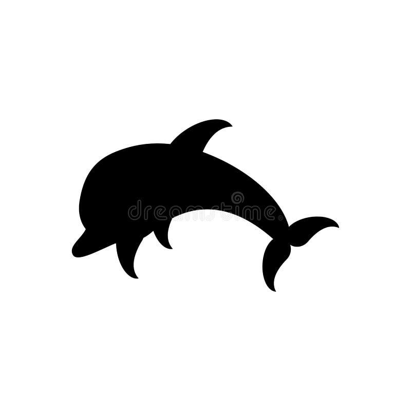 O ícone de salto liso preto do vetor do golfinho isolou-se; EPS 10 ilustração do vetor
