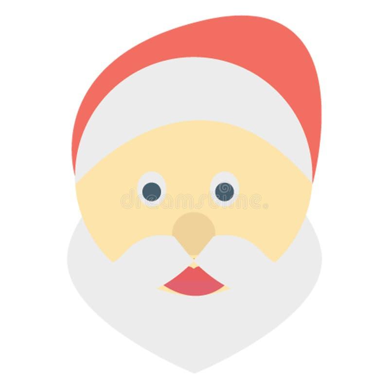 O ícone de Santa Face Color Vetora facilmente altera ou edita ilustração stock