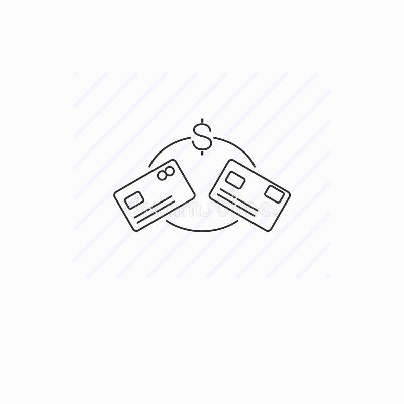 O ícone de transferência de dinheiro isolou-se Cart?es pl?sticos ilustração royalty free