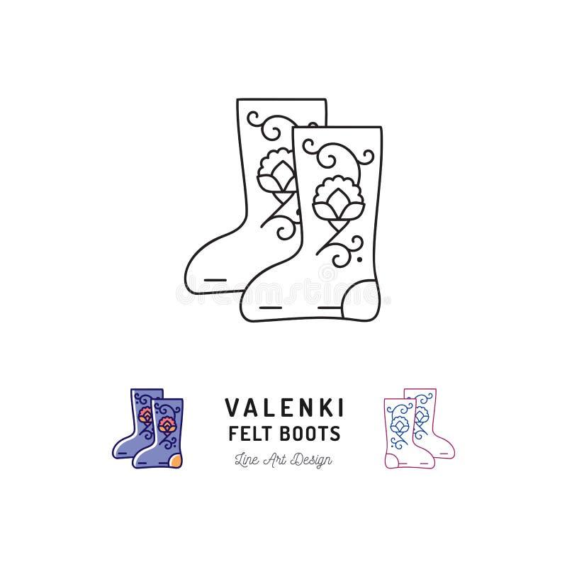 O ícone de Valenki sentiu o sinal das botas, calçados tradicionais do inverno do russo Linha fina projeto da arte, vetor ilustração stock