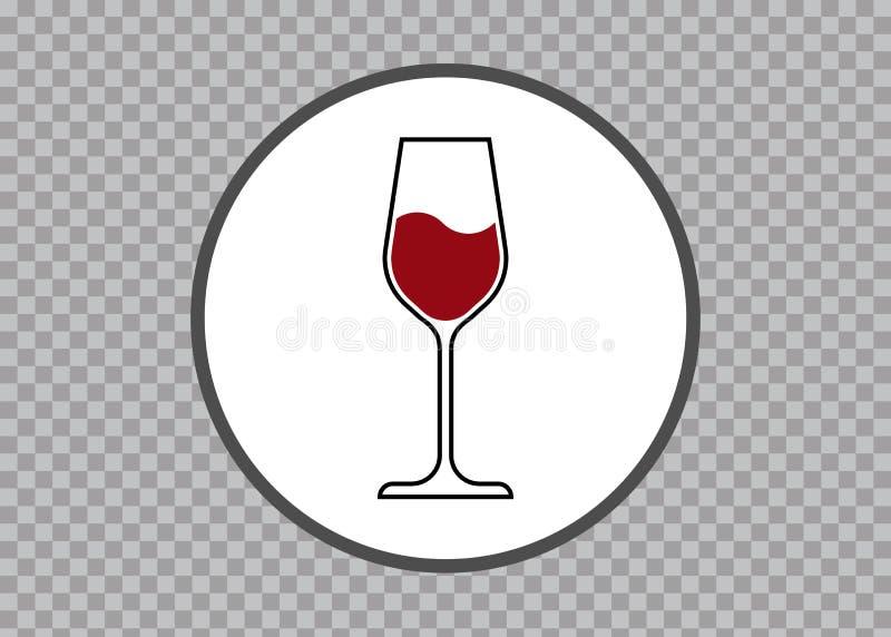 O ícone de vidro do vinho tinto, logotipo do copo de vinho, vetor Art Illustration do ícone dos produtos vidreiros isolou o fundo ilustração royalty free