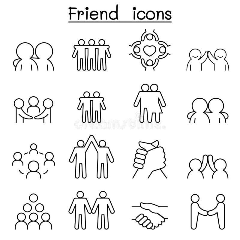 O ícone do amigo & da harmonia ajustou-se na linha estilo fina ilustração stock