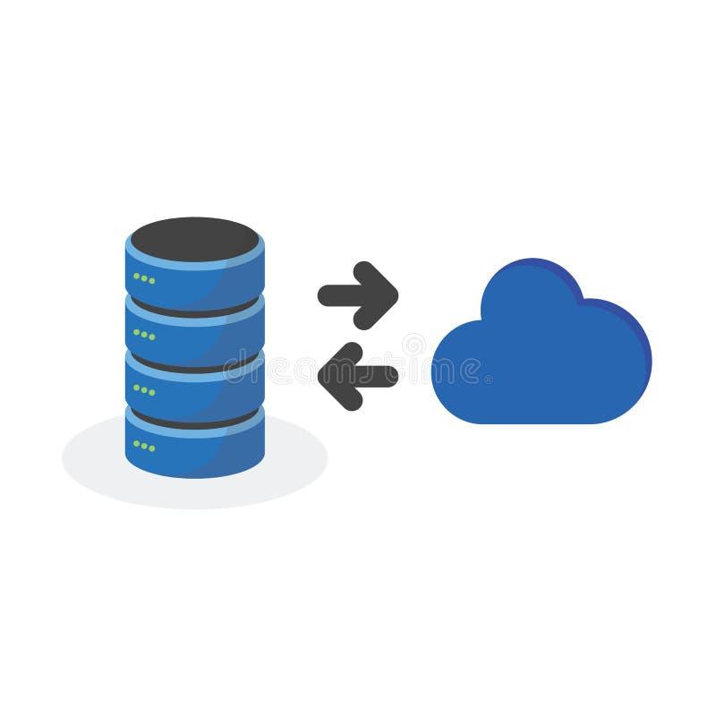 O ícone do armazenamento de dados com conecta o armazenamento da base de nuvem ilustração royalty free
