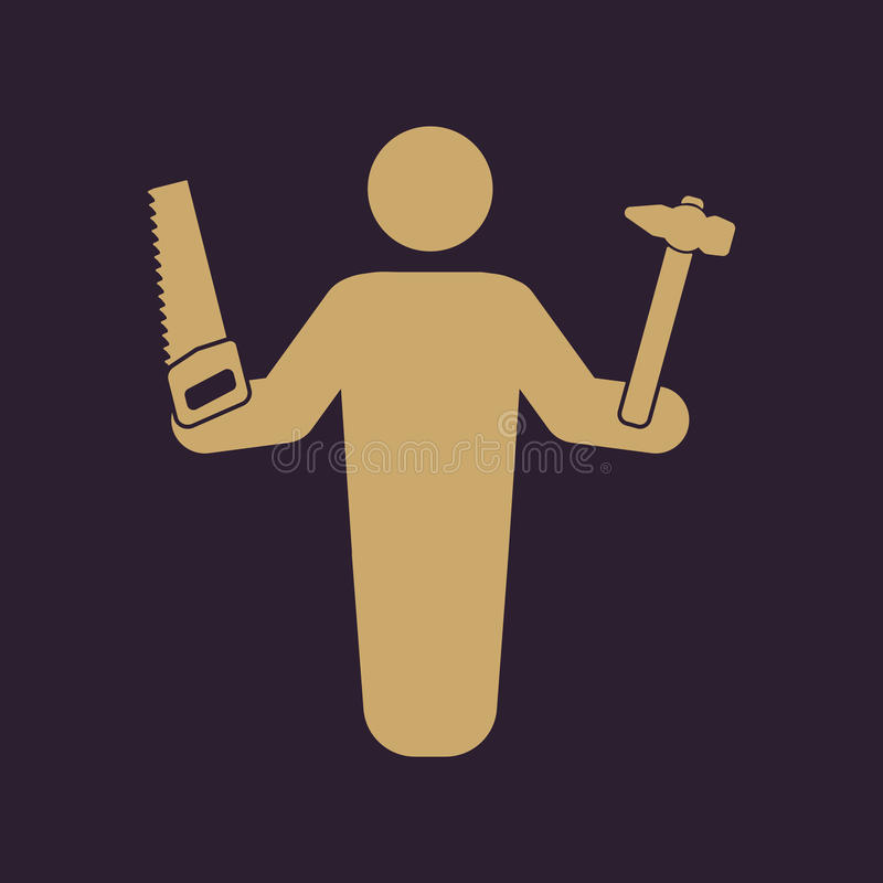O ícone do avatar do carpinteiro Construtor e trabalhador manual, símbolo do artesão liso ilustração royalty free