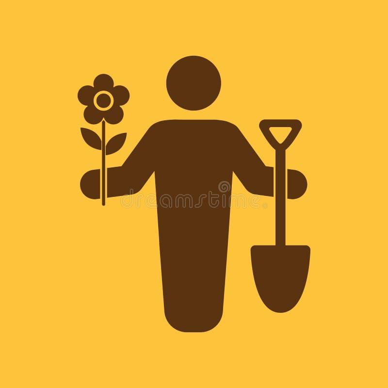 O ícone do avatar do jardineiro Jardinagem e agricultura, símbolo do jardim liso ilustração do vetor