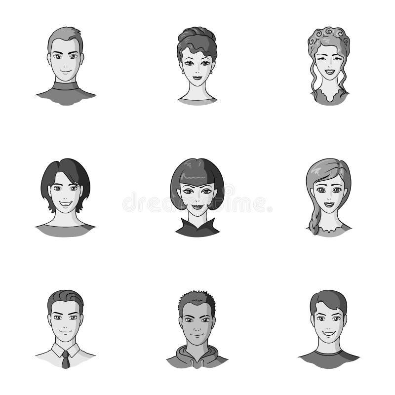 O ícone do Avatar e da cara na coleção do grupo no estilo monocromático vector o estoque do símbolo ilustração royalty free