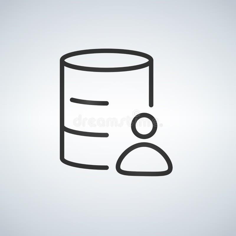 O ícone do base de dados do cliente, pessoa de conexão em um base de dados, adiciona o usuário a DB, conta ilustração royalty free