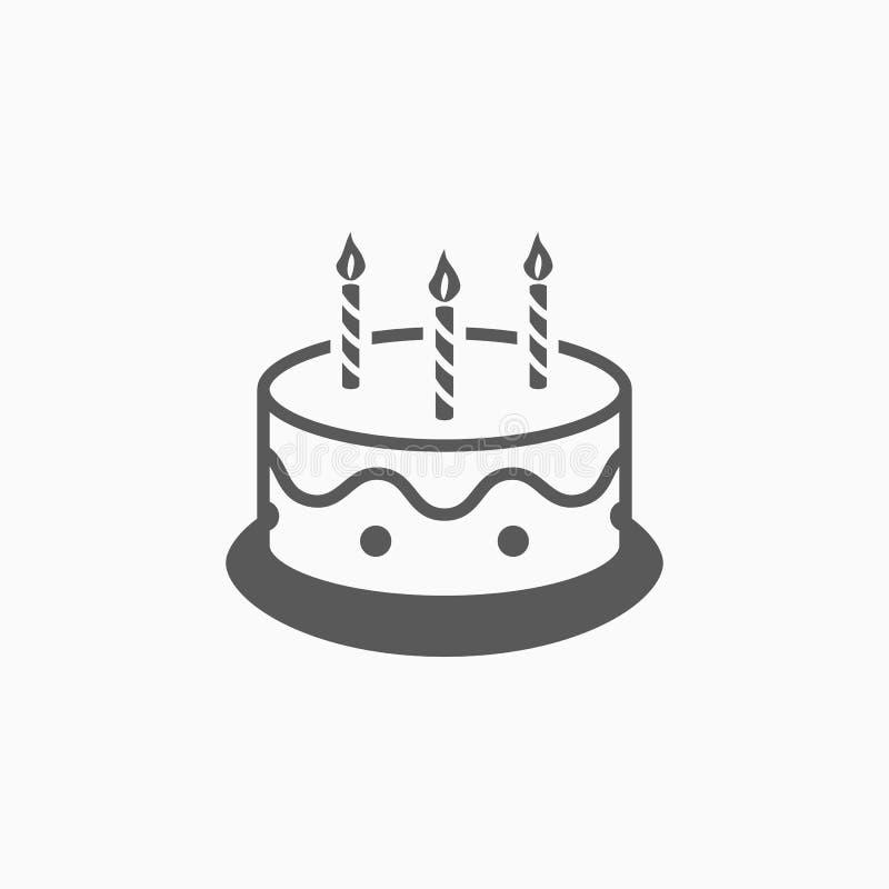 O ícone do bolo, aniversário, padaria, comemora ilustração stock