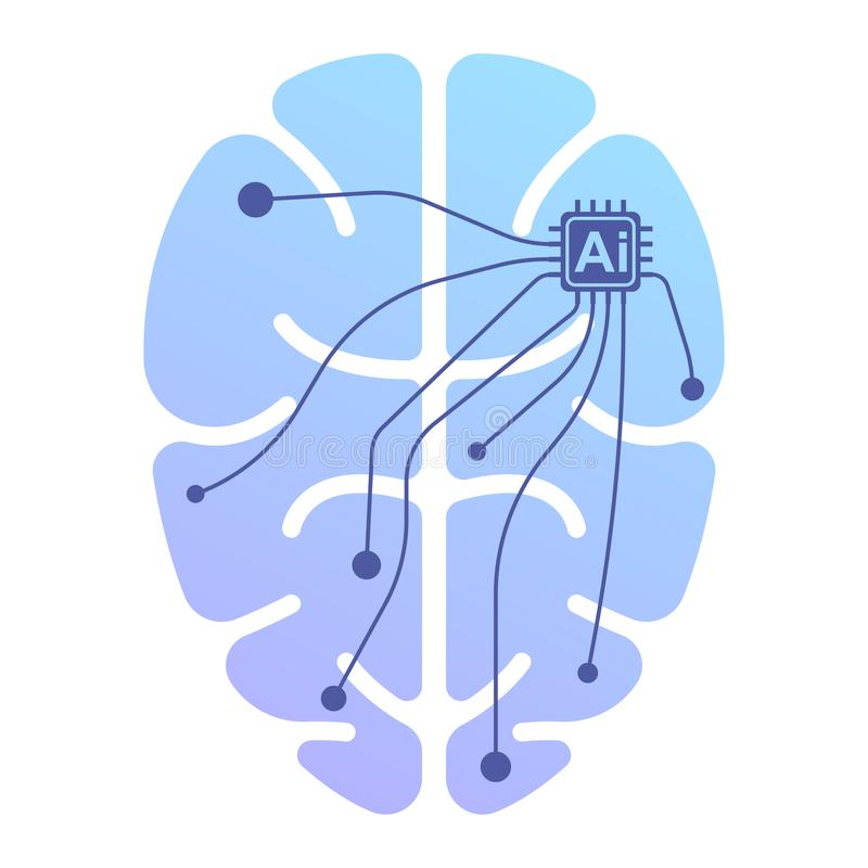 O ícone do cérebro humano sob o controle da inteligência artificial Ilustração isolada do vetor no fundo branco ilustração royalty free