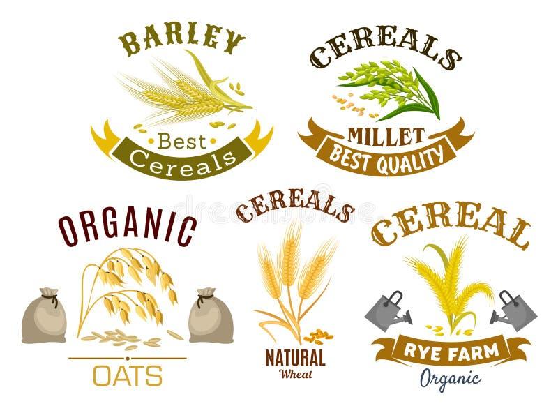 O ícone do cereal ajustou-se com trigo, centeio, aveia e painço ilustração stock