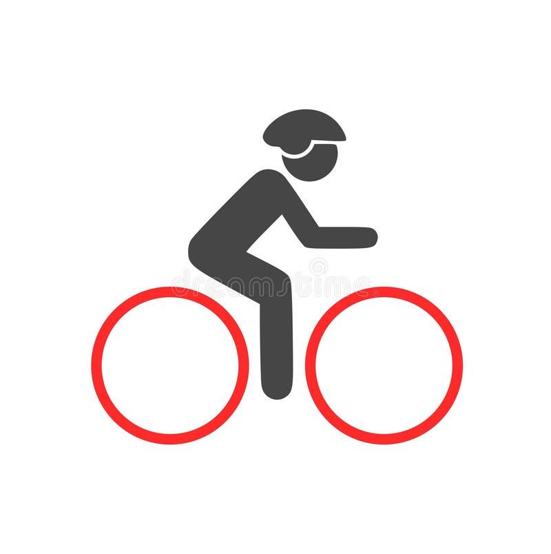 O ícone do ciclista, homem em um logotipo da bicicleta ilustração royalty free