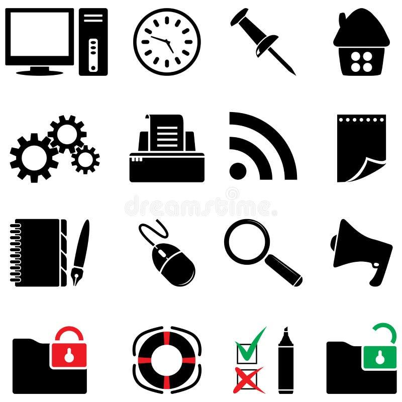 O ícone do computador ajustou-se (as cores preto e branco) ilustração stock