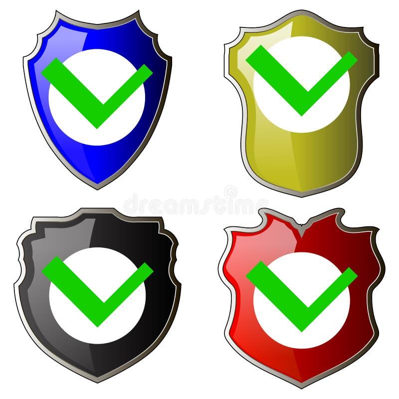 O ícone do controlo de segurança, Logotype do protetor, protege o sinal Mark Approved Logo, protetor Symbol, grupo da privacidade ilustração stock