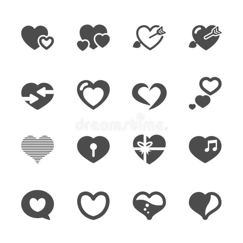 O ícone do coração e do dia de são valentim ajustou 2, vetor eps10 ilustração do vetor