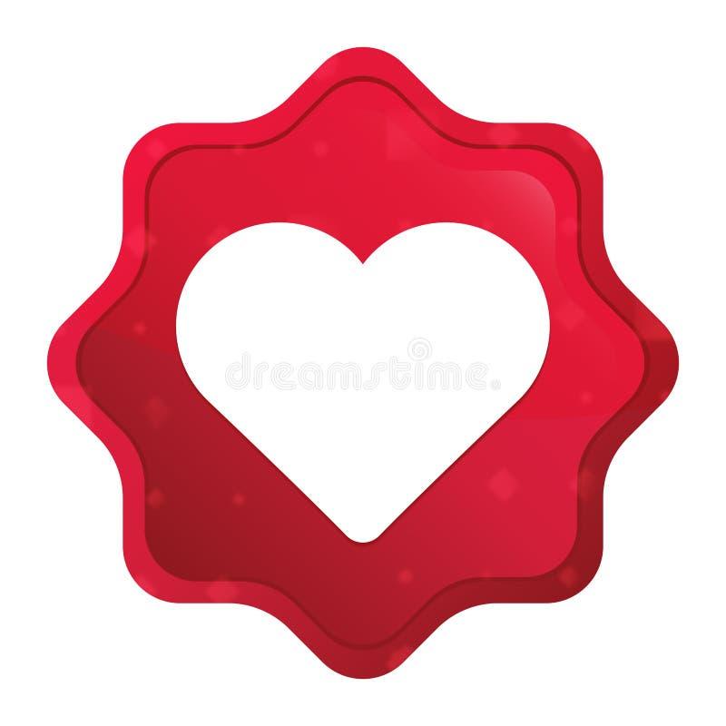 O ícone do coração enevoado aumentou botão vermelho da etiqueta do starburst ilustração do vetor