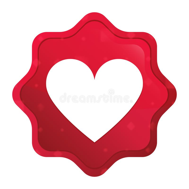 O ícone do coração enevoado aumentou botão vermelho da etiqueta do starburst ilustração stock