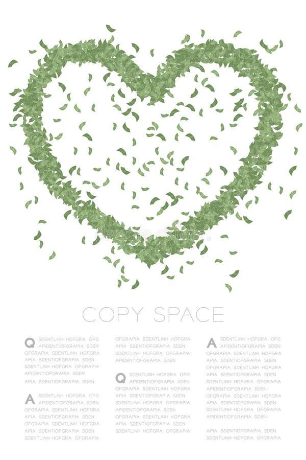 O ícone do coração fez a frome cédulas abstratas teste padrão, ilustração de cor verde do projeto de conceito do dia de Valentim  ilustração do vetor