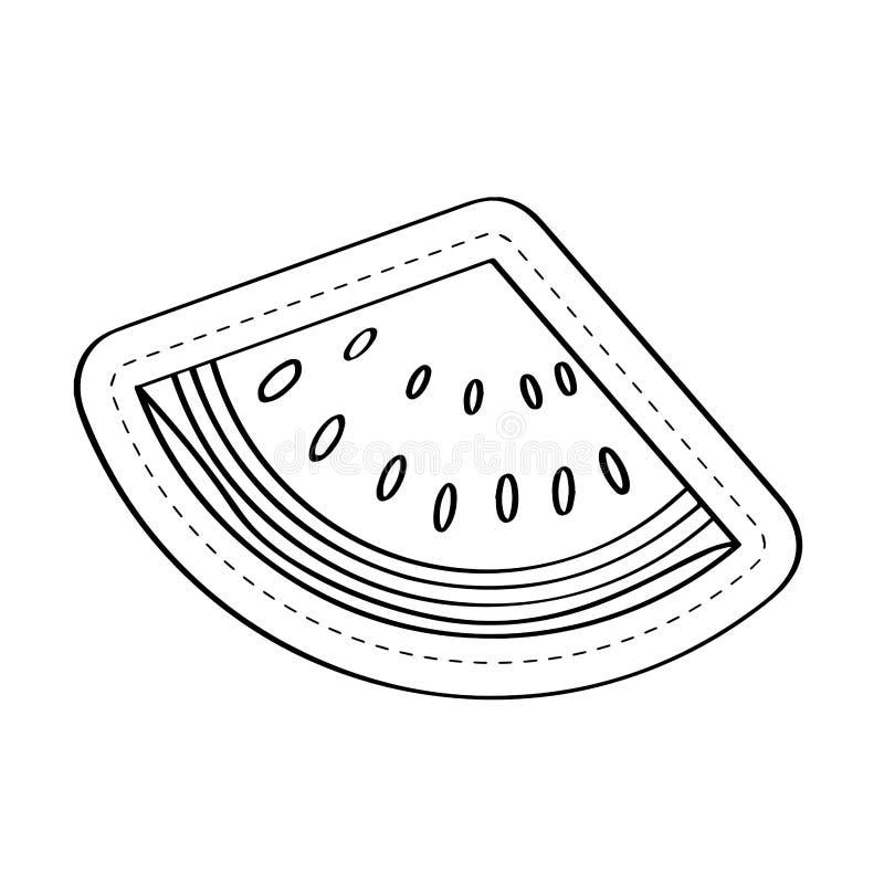 O ícone do corte da melancia pontilhou a etiqueta ilustração royalty free