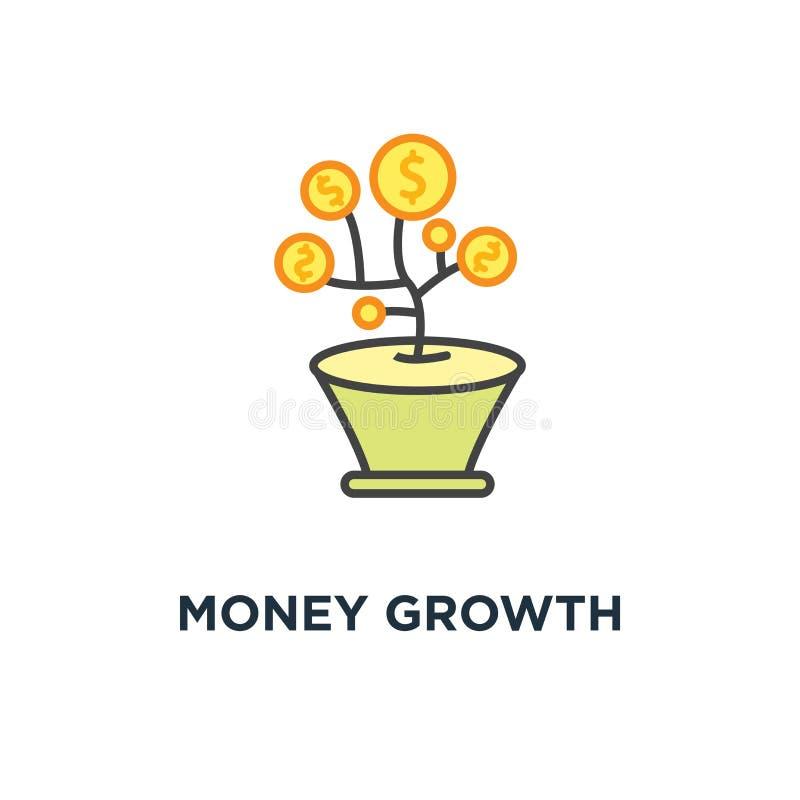 o ícone do crescimento de dinheiro, árvore feliz do dinheiro dos desenhos animados bonitos, moeda do dólar do ouro está crescendo ilustração royalty free