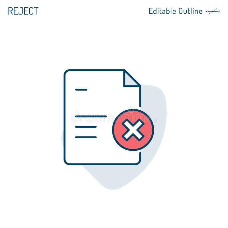 O ícone do desacordo, documento de controle da qualidade, conformidade do documento, verifica a lista, marca transversal, arquiv ilustração stock